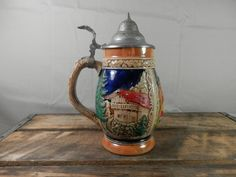 Vintage Beer Stein Lidded from West Germany Marked RM 4083 Hand Painted Ceramic with Pewter Type Lid by WesternKyRustic on Etsy