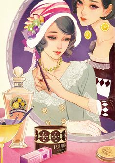 Over The Rainbow // blackcoffeecinnamon: wominago: 百貨店ワルツ . Geisha Kunst, Geisha Art, Anime Kunst, Japan Illustration, Character Illustration, Manga Art, Anime Manga, Anime Art, Pretty Art