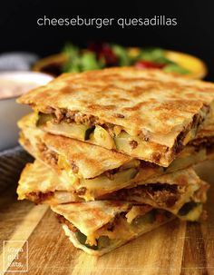 Cheeseburger Quesadillas with Special Sauce - Iowa Girl Eats Burger Toppings, Sauce Recipes, Beef Recipes, Cooking Recipes, Entree Recipes, Mexican Recipes, Shrimp Recipes, Quesadillas, Cheeseburger Quesadilla