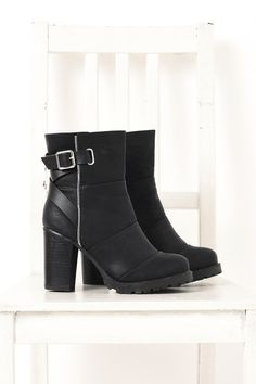 Add some motorcycle boots edge with our vegan leather zip up black boots. The chunky heel keeps these stylish boots comfortable to wear all day.