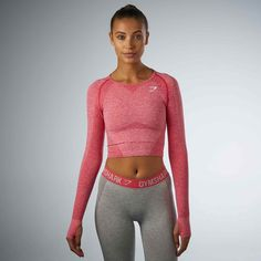 Gymshark Seamless Long Sleeve Crop Top - Sherbet Pink Marl at Gymshark