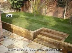 Image result for how to build a retaining wall with sleepers