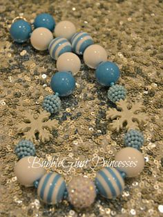 Chunky BubbleGum bead necklace FROZEN Snowflakes BLUE & WHITE- Stripe girls toddler baby Jewelry Gumball on Etsy, $18.00
