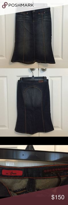 NWOT AG Adriano Goldschmied Denim Skirt NWOT AG Adriano Goldschmied Denim Skirt. Mid length, mermaid style denim skirt with contrast stitching down vertical seems. Two coin pockets in front. Fits around hips and thighs, then flares out toward the bottom. AG Adriano Goldschmied Skirts