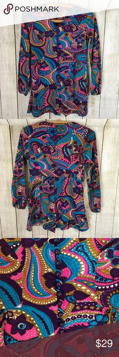 """Groovy 70's button down hippy paisley floral top Super fun long sleeve button down floral paisley shirt. 28 1/2"""" long Tops Tees - Long Sleeve"""