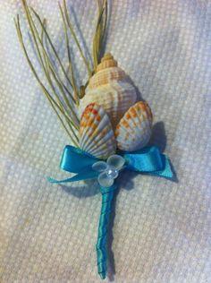 Seashell Beach Destination Wedding Sea Shell Boutonniere / Corsage Turquoise