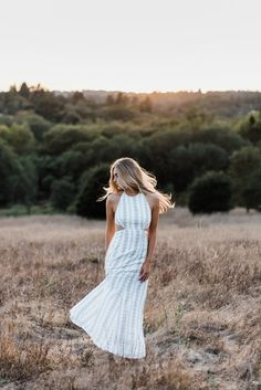 sundrenched senior session, high school senior portraits, sonoma county sunset, sun flare, ooh la luxe dress, blonde hair, long hair, model, christy marie photography