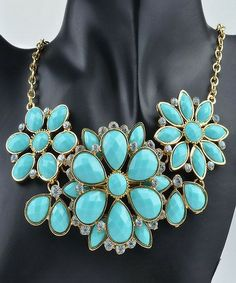 Turquoise Chunky Crystal Studded Flower Statement Necklace