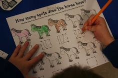 Color the horse and count the spots on that horse, Write the number