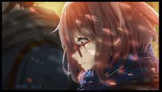 "Anime Wallpaper 3961x2258  ""blush"" ""brown eyes"" ""brown hair"" ""glasses"" ""scarf"" ""short hair""  Source:     ""Beyond the Boundary""  Characters:     ""Kuriyama Mirai""  Artist:     ""Xi Chen Chen"""