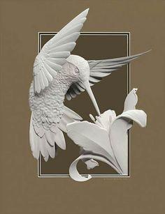 hummingbird sculpture | 28+ Stunning Animal Paper Sculptures | Redchn Design