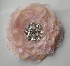 Bridal hair fascinator in nude and pink lace by kathyjohnson3, $36.00