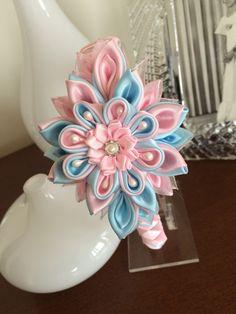 Blue/pink girl headbandgirl headbandKanzashi by MagaroCreations