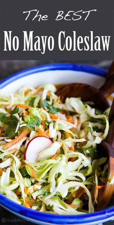 No mayo coleslaw, great for tacos! Cool and crunchy, thinly sliced cabbage with carrots and radishes. Great with Mexican food. Easy! On SimplyRecipes.com