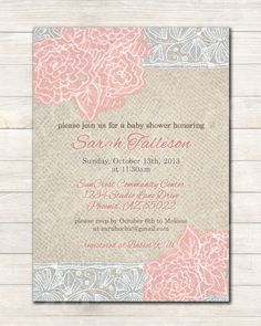 Printable Burlap Rustic Baby  Shower Invitation (girl) - sarah O chic - shabby chic invite, rustic invite, pink, roses, lace, Burlap on Etsy, $12.00