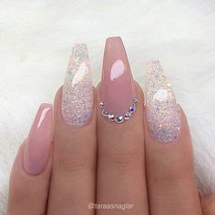 ✨ REPOST - - • - - Pale Mauve-Pink and Glitter on long Coffin Nails with Crystal Accent ✨👌 - - • - - 📷 Picture and Nail Design by…