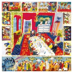 Michal Meron Paper Print with Passover Haggadah and Bright Holiday Images