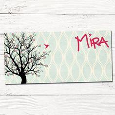 getekend geboortekaartje vintage met boom en vogel | design op maat | grafisch | ontwerp | babykaartjes | silhouet | patroon