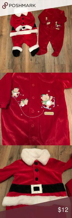 Christmas outfits size 0-3m Okie dokie Santa suite. Child of mine by carter's baby's first Christmas sleeper. okie dokie Pajamas