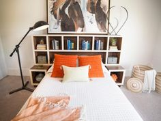 Maximize your bedroom& storage by building handy cubbies into your headboard. Diy Storage Headboard, Kids Bedroom Storage, Headboard With Shelves, How To Make Headboard, Bookcase Headboard, Headboards For Beds, Bedroom Organization, Organization Ideas, Storage Ideas