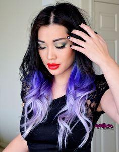 Black with blue to lavender underside