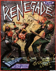 Original cover art for the Retro Gaming favourite Renegade. Original Coin-op by Taito and published on the ZX Spectrum by Imagine. Published in 1986 Vintage Video Games, Classic Video Games, Retro Video Games, Vintage Games, Video Game Art, Retro Games, Retro Toys, Games Box, Old Games