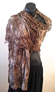 Shredded Scarf Post Apocalyptic Steampunk Goth Boho Gypsy Pretty Angel Brown | eBay