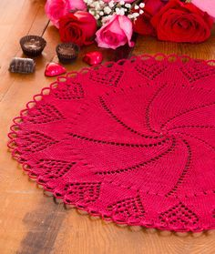 Valentine Heart Doily Free Knitting Pattern in Red Heart Yarns