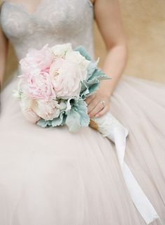 Pink and White Bouquet with Dusty Miller | Brides.com