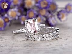 3pcs Diamond Ring Set, 6x8mm Emerald Cut VS Pink Morganite Solid 14k White Gold Halo Claw Prong Engagement Ring Marquise Milgrain Deco Full Eternity Diamonds Bridal Stacking Wedding Band Sets - Wedding favors (*Amazon Partner-Link)