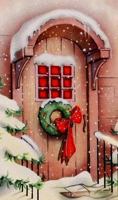 Red door illustration christmas cards 26 ideas for 2019 Vintage Christmas Images, Old Christmas, Christmas Scenes, Retro Christmas, Vintage Holiday, Christmas Pictures, Christmas Greetings, Christmas Crafts, Christmas Decorations
