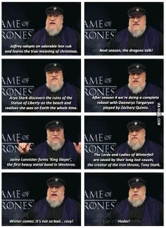 George R. R. Martin gives spoilers for season 4...(for those who don't read the books)...he's a troll...