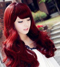 Woman's Long Hair - Bangs - Cool Red