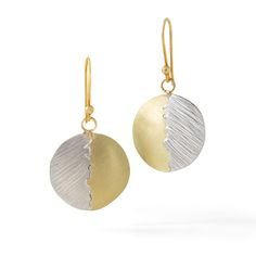 Handbuilt sterling silver and 18K gold moon earrings. Handetched with matte  finish on 18K gold wires.
