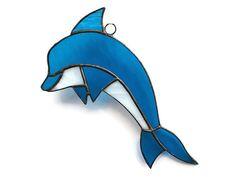 Nautical Decor Stained Glass Sea Blue Dolphin Ornament by ZangerGlass