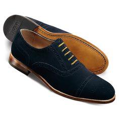 Navy Newton suede semi brogue shoes
