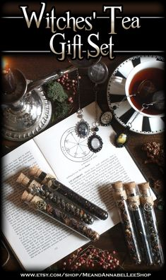 Gift Set for Witches: a variety of Witch themed Stainless Steel Tea Ball Infusers & Glass Tea Vials featuring 6 different Witch themed Charms   Perfect for a Witches' Tea Party or Halloween luncheon #Salem #witchtrials #Pentagram #Coven #Cauldron #fullMoon #Witchcraft #Wiccan #WitchesTeaParty #WhiteMagick #Halloween #VictorianGothic #witch #pagan #teaparty #tealovers #blackcat #triplemoongoddess