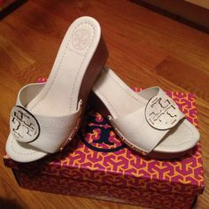 Tory Burch Wedge 100% authentic Tory Burch wedge in patti matte tumbled size 6.5. Purchased from Bloomingdales $225+ tax. Worn maybe 3 times. No more. Good condition. With original box and tissue in place. No trades / no exchanges / no refunds. Tory Burch Shoes Wedges