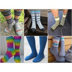Sokker i blåtimen - Bittamis Design. 6 sokkemønstre fra Lillcat design og meg. 3 fra hver.
