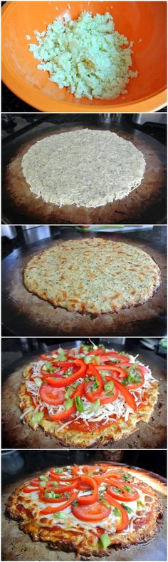 Cauliflower Crust Pizza… I need a cheese free version of this!