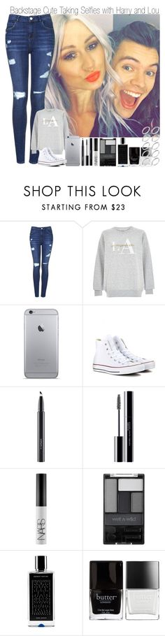 """""""Backstage Taking Cute Selfies with Lou and Harry"""" by elise-22 ❤ liked on Polyvore featuring Topshop, LA CITY, Converse, MAC Cosmetics, shu uemura, NARS Cosmetics, Wet n Wild, Agonist, Butter London and ASOS"""
