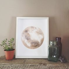I love the moon! This is a semi original moon print - meaning it is a professional reproduction that I have personally added a bit of acrylic paint to