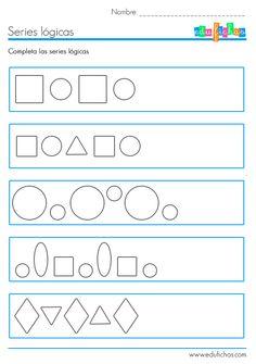 Ficha educativa de series lógicas con formas. Ejercicios de lógica y dibujo para niños. Material educativo como recurso para el aula de educación infantil.