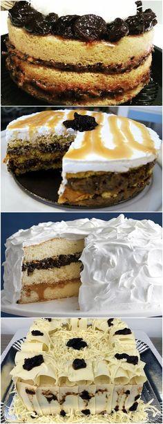 Bolo de Ameixa com Doce de Leite e Nozes Sem Glúten, maravilhoso m uma batedeira, bata o açúcar com os ovos até dobrar de volume (cerca de 8 minutos). Sem bater, junte a fécula de batata e o fermento em pó, delicadamente.  #receitas#bolo#doce#sobremesa#aniversario#pudim#mousse#pave#cheesecake#chocolate#confeitaria Tiramisu, Mousse, Cheesecake, Ethnic Recipes, Desserts, Chocolate, Cakes, Prints, Cook