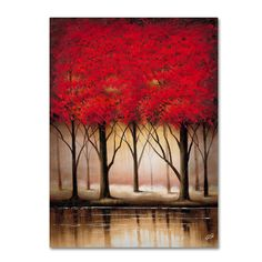 This ready to hang, gallery-wrapped art piece features a landscape of red trees. Masters Fine Art is a company that travels around the world to bring the best in fine art from outstanding artists from