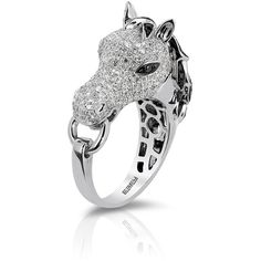 Effy Jewelry Effy Caviar 14K White Gold Black and White Diamond Horse... ($4,050) ❤ liked on Polyvore
