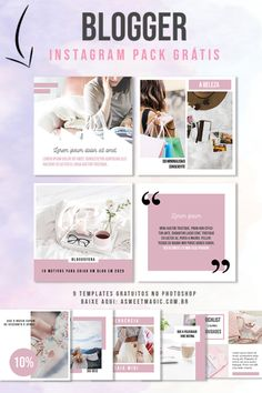 Freebie: Pack Social Media para Bloggers - Download Grátis - Sweet Magic Sweet Magic, Free Design, About Me Blog, Packing, Instagram, Templates, Socialism, Social Networks, Eyebrows