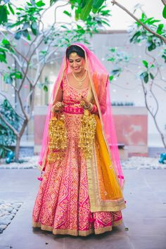 Looking for bright pink bridal lehenga by Shyam Narayan Prasad? Browse of latest bridal photos, lehenga & jewelry designs, decor ideas, etc. on WedMeGood Gallery. Bridal Lehenga Images, Pink Bridal Lehenga, Wedding Lehanga, Punjabi Wedding, Green Lehenga, Bridal Outfits, Bridal Looks, Bridal Style, Indian Bridal