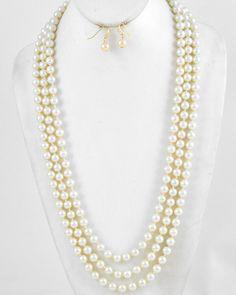 Rhodiumized / Cream Synthetic Pearl/ Lead&nickel Compliant / Long Neck & Fish Hook Earring Set