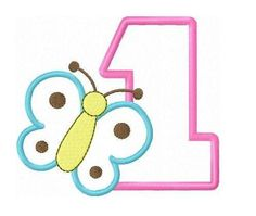 Butterfly birthday applique numbers machine embroidery design
